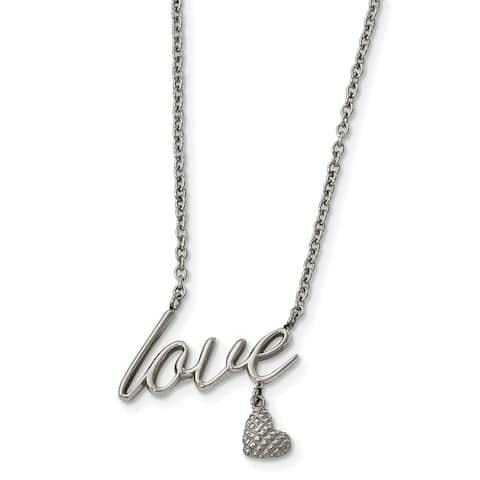Chisel Stainless Steel Polished LOVE 16.5-inch with 4-inch Extension Necklace