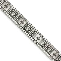Chisel Stainless Steel Antiqued Brushed CZ Bracelet - china