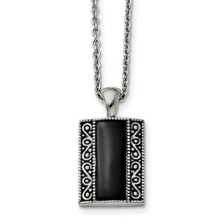 Chisel Stainless Steel Black Onyx Antiqued Rectangular Necklace