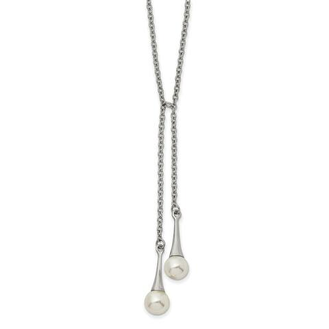 Chisel Stainless Steel Polished Simulated Pearl with 2-inch Extension Necklace