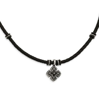 Chisel Stainless Steel Polished Black IP-plated Braided Black Leather CZ Necklace - china