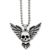 Chisel Stainless Steel Antiqued Skull with Wings Polished Necklace - china
