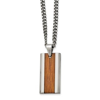 Chisel Stainless Steel Polished Red and Orange Wood Inlay Enameled Necklace