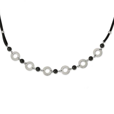 Chisel Stainless Steel Polished Leather with Black Agate 1.5-inch Extension Necklace
