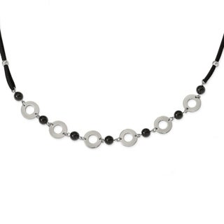 Chisel Stainless Steel Polished Leather with Black Agate 1.5-inch Extension Necklace - china