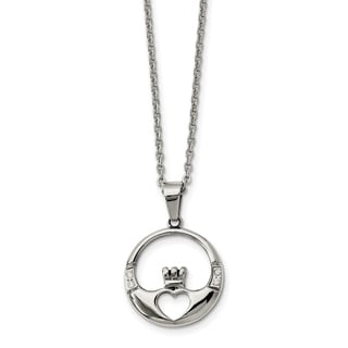 Chisel Stainless Steel Claddagh With CZ Pendant Necklace