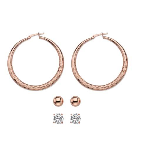 "4 TCW CZ Rose Gold Tone 3-Pair Set of Earrings 2"""