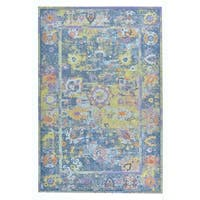 """Colorfields Pied-A-Terre Blue Printed Rectangle Rug - 7'6"""" x 9'6"""""""