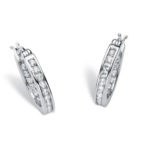 Platinum over Sterling Silver Inside Out Hoop Earrings Cubic Zirconia