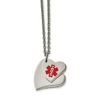 Chisel Stainless Steel Double Heart Medical Pendant 18-inch Necklace - china