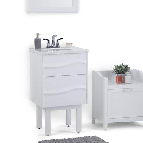 WYNDENHALL Brant 20 inch Contemporary Bath Vanity in White with Light Grey White Veined Engineered Marble Extra Thick Top