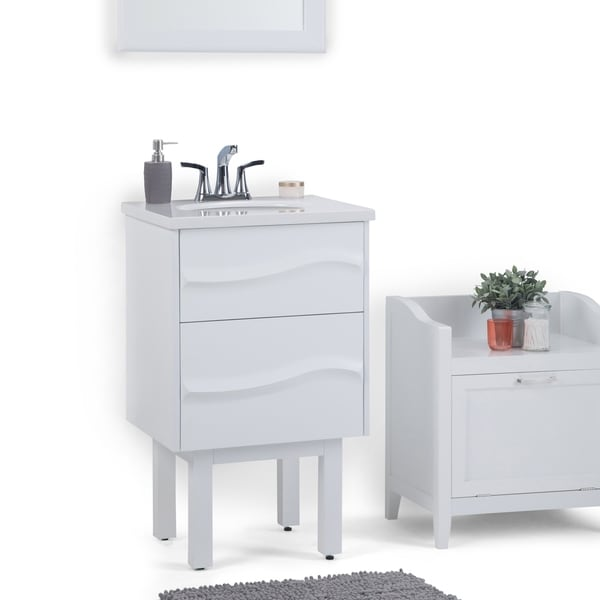 WYNDENHALL Brant 20 inch Contemporary Bath Vanity in White with Light Grey White Veined Engineered Marble Extra Thick Top. Opens flyout.