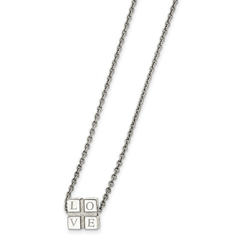 Chisel Stainless Steel Polished Love Box Necklace