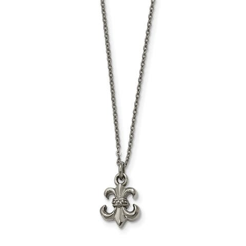 Chisel Stainless Steel Polished Fleur de Lis with 2-inch Extension Necklace
