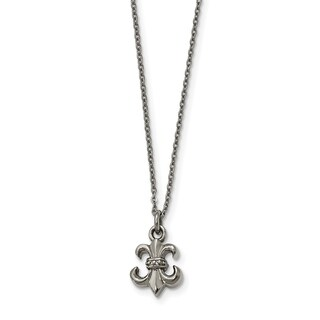 Chisel Stainless Steel Polished Fleur de Lis with 2-inch Extension Necklace - china