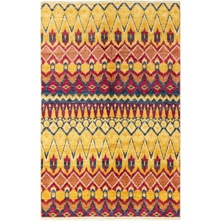 ECARPETGALLERY Hand-knotted Shalimar Light Gold Wool Rug - 6'1 x 9'6