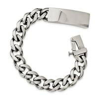 Chisel Stainless Steel Polished with ID Plate 8.5 Inch Bracelet