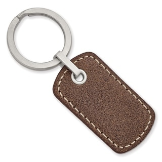Chisel Stainless Steel Brushed Tan Stitched Leather Key Ring