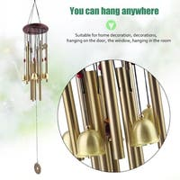 Large Resonant Wind Chimes Wood Top 10 Tubes Copper Coins Church Bells