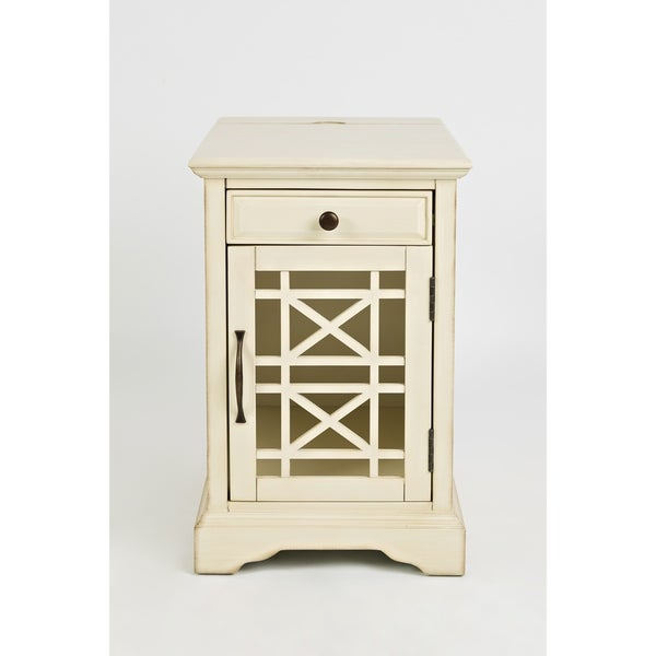 Wooden Chairside Table with Power Outlets, Antique Cream