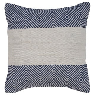 "LR Home Blue Geometic White Striped Throw Pillow 18"" x 18"""