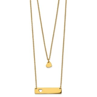 Chisel Stainless Steel Yellow IP-plated Heart Bar Multi Strand 1.5-inch Extension Necklace - china