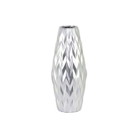Embossed Wave Design Ceramic Vase With Round Lip, Large, Silver