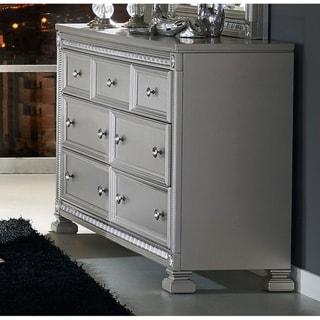 Silver Finish Wood 7-drawer Dresser