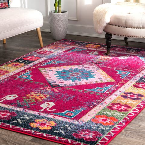 Porch & Den Zhou B. Purple Faded Bohemian Tribal Border Area Rug - 4' x 6'