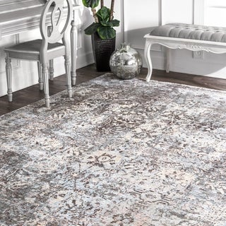 nuLoom Grey Traditional Vintage Lila Abstract Fading Flux Border Area Rug - 7' 6 x 9' 6