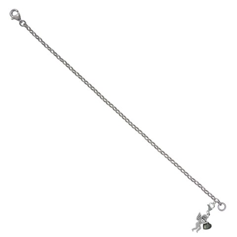 """MARC Sterling Silver Holding Heart Cupid Charm Set with Marcasite in 7.25"""" Bracelet"""