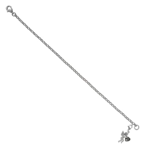 "MARC Sterling Silver Marcasite Holding Heart Cupid Charm Bracelet7.25"""