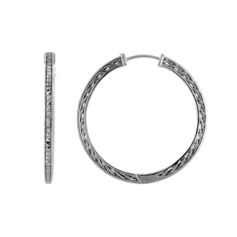 MARC Sterling Silver Square Marcasite Hoop Earrings
