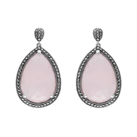 MARC Sterling Silver Rose Quartz & Marcasite Teardrop Earrings