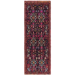 Hand Knotted Hamedan Semi Antique Wool Runner Rug - 3' 5 x 9' 7
