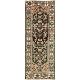 Hand Knotted Hamedan Semi Antique Wool Runner Rug - 3' 4 x 9' 4