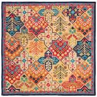Safavieh Handmade Aspen Bohemian & Eclectic Southwestern - Blue / Orange Wool Rug - 7' x 7' Square