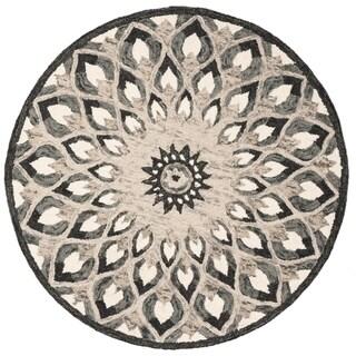 Safavieh Handmade Novelty Novelty Print - Charcoal / Ivory Wool Rug - 4' x 4' Round