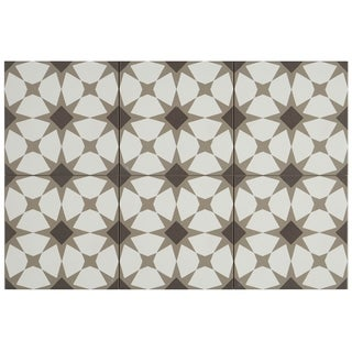 Hand-Made Encaustic Look 8X8 Starbrite White & Brown Decorative Blend