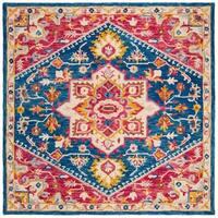 Safavieh Handmade Aspen Bohemian & Eclectic Southwestern - Navy / Fuchsia Wool Rug - 7' x 7' Square