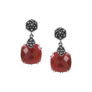 MARC Sterling Silver Cushion cut Red-Agate & Marcasite Earrings