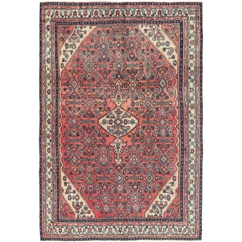 Hand Knotted Hamedan Semi Antique Wool Area Rug - 6' 8 x 9' 10