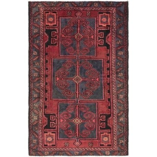Hand Knotted Hamedan Semi Antique Wool Area Rug - 4' 2 x 6' 6