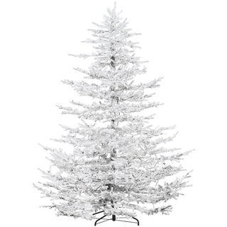 Fraser Hill Farm 9' Flocked Arctic Pine Artificial Christmas Tree with Smart Clear Lights, EZ Connect - Snow
