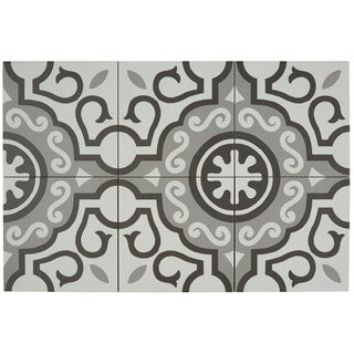 Hand-Made Encaustic Look 8X8 Particular White & Grey Decorative Blend