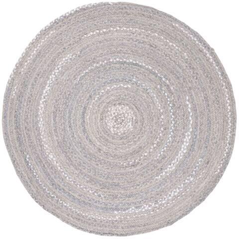 Safavieh Handmade Braided Country Geometric - Light Grey Cotton Rug - 4' x 4' Round