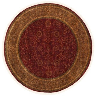 Safavieh Couture Hand-knotted Ganges River Shantell Traditional Oriental Wool Rug with Fringe (100 x 100 Round - Rust/Green)