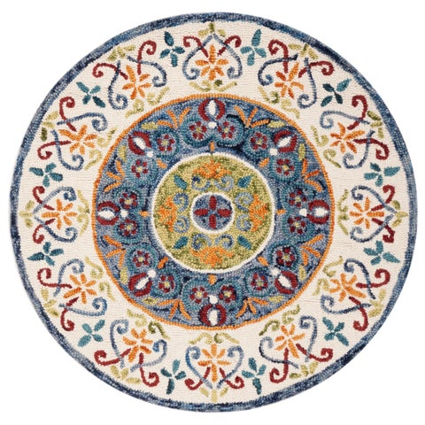 Safavieh Handmade Novelty Novelty Print - Blue / Ivory Wool Rug - 5' x 5' Round