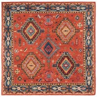 Safavieh Handmade Heritage Traditional Rust / Navy Wool Rug - 6' X 6' Square
