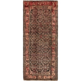 Hand Knotted Hossainabad Semi Antique Wool Runner Rug - 4' 2 x 10' 3